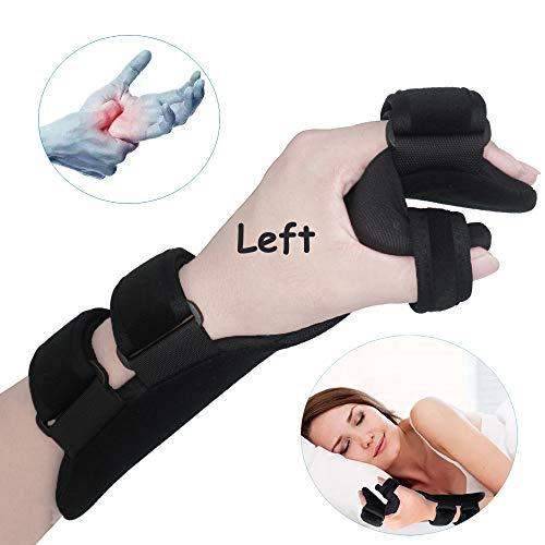 Soft Resting Hand Splint Night Wrist Splint Support Immobilizer Finger Wrist Fracture Fixation Scaffold for Stroke Hand Pain Tendinitis Sprain Fracture Arthritis Dislocation (Medium, Left)