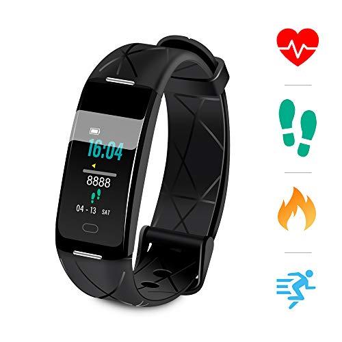 Sonkir Fitness Tracker, IP68 wasserdichte Aktivitäts-Tracker mit Herzfrequenz-Schlafmonitor Kalorien-Schrittzähler Smartwatch, intelligentes Armband für Frauen Männer (Schwarz)