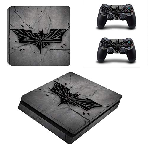 SD.Enterprises Wallton Batman Logo Theme 3M Skin Sticker Cover for PS4 Slim Console and Controllers Video Game (Grey)