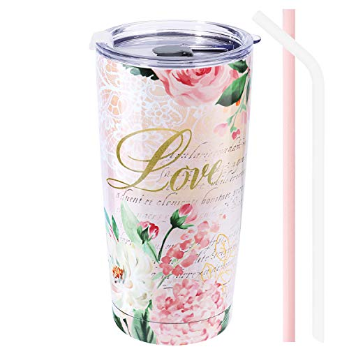 NymphFable 20oz Thermobecher Kaffeebecher to Go Rosa Blumen Doppelwand Edelstahl Becher Mit Deckel Und Strohhalm
