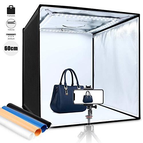 Amzdeal Tenda Studio Fotografico Portatile 60x60x60cm Pieghevole 5000LM 5500K LED Light Box, 4 × Sfondo Blu/Bianco/Nero/Arancione, Facile da Installare con Velcros Strong Attachment - Nuova Versione