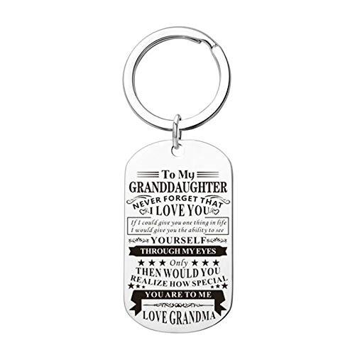 HIUYOO Schlüsselanhänger Paar Silber Dog Tag Gravur to My Granddaughter.Love Grandma Edelstahl Schlüsselanhänger Fahr Vorsichtig Schlüsselbund Silber