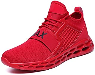 FYXKGLa Men's Shoes Running Shoes Men 2019 Summer New Sports Shoes Mesh Breathable Large Size Casual Shoes (Color : Red, Size : 47EU)