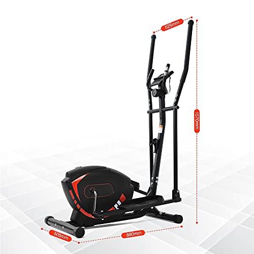 Itopfoxeu Crosstrainers per uso domestico, con maniglie della frequenza cardiaca, sistema frenante magnetico, 8 livelli di regolazione della resistenza, fino a