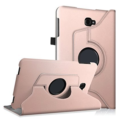Samsung Galaxy Tab E 9.6' Tablet Case Cover Pu Leather 360 Degree Rotating Swivel Stand Case Cover for Samsung Tab E SM-T560 T561 9.6-Inch Tablet (Rose Gold)