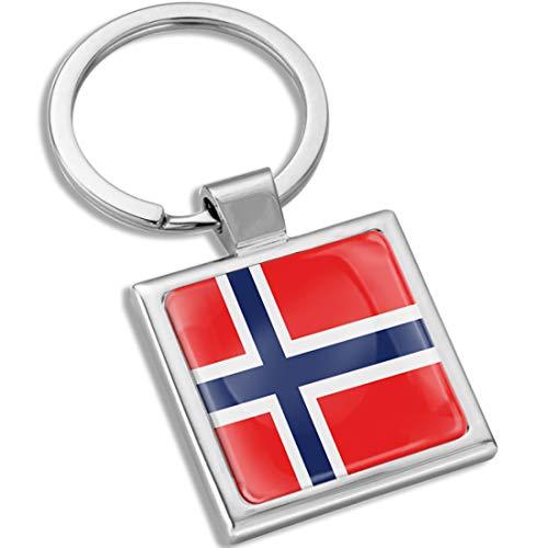 Biomar Labs Llavero con Caja de Regalo de Metal en 3D para Hombres y Mujeres Bandera Nacional Norway Noruega KK 289