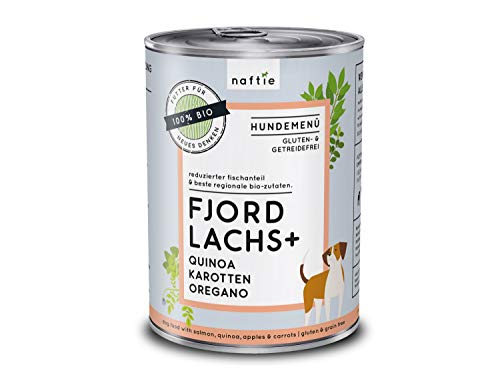 naftie Bio Hundefutter Fjord Lachs+ | Premium Nassfutter Menü mit Lachs-Fisch, Quinoa, Karotten & Oregano | Getreidefrei | Glutenfrei | 400g Dose