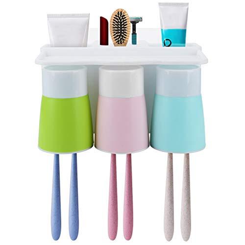 Atyhao Soporte para Cepillo de Dientes montado en la Pared Juego de Organizador sin Perforaciones para Taza de Lavado de Dientes para baño(1#)