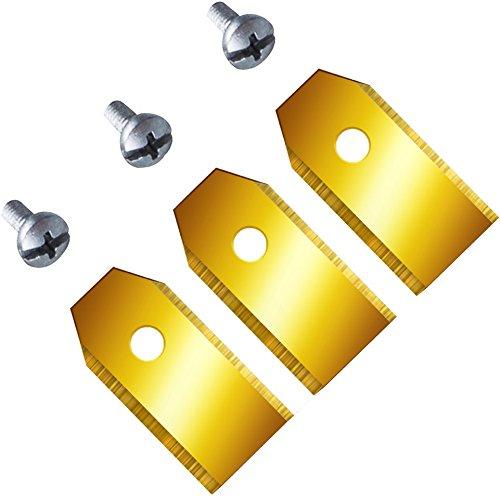 Titan!! DIE DICKEN! 12 Ersatzmesser (0,75mm) extrahart für Husqvarna Automower & Gardena mit funktionaler Titan-Karbid Beschichtung 9 0,75 mm/3,1 gr. neu Messer Klingen Mähroboter titanbeschichtet
