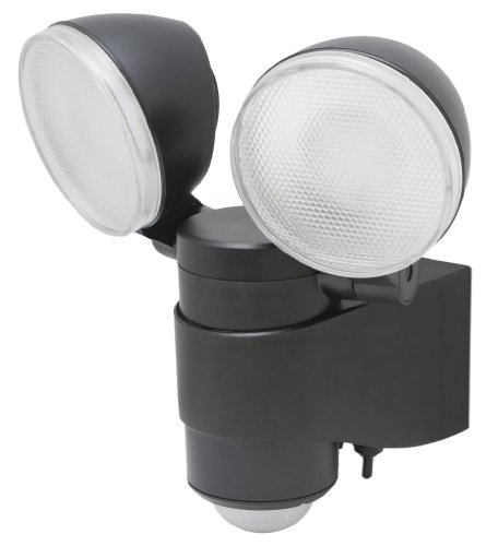 MAXSA Innovations 43218RS Battery-Powered Motion-Activated Dual-Head LED Security Spotlight, Black