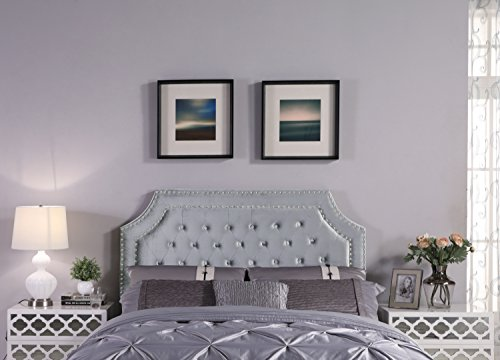 Iconic Home Argus Headboard Velvet Upholstered Button Tufted Double Row Silver Nailhead Trim, Modern Transitional, Twin, Grey