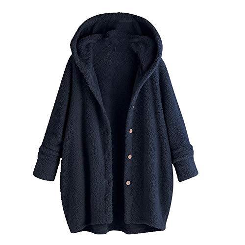 Abrigo grueso de las mujeres del otoño sólido botón de manga larga con capucha chaqueta suéter abrigo