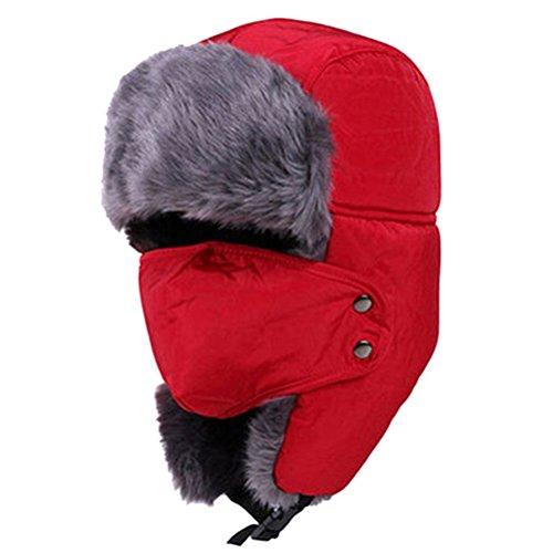 ROSENICE Ushanka Cappello Cappelli di Sci di Earflap Aviatore Ushanka Trapper con Maschera cap Hood(Red)