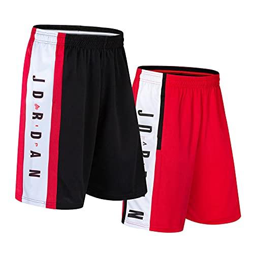 Basketball Shorts 2 Pack de los Hombres Pantalones de Secado rápido Cortos Sueltos Grandes Bullen # 23 Chándal de Jogging para Jorda Fitness Baloncesto Sweetpants Shorts,2 Red,XL