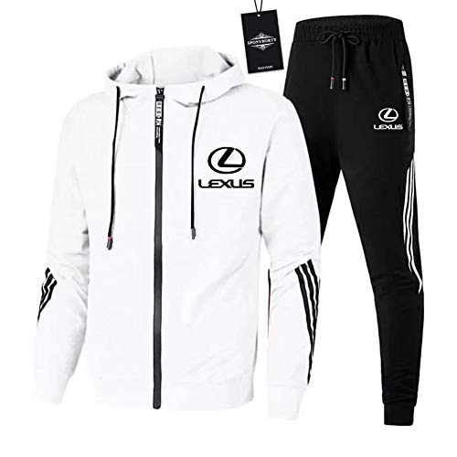 Gyulyaydin Herren Trainingsanzug Jogging Anzug Le-x.us Sportanzug Kapuzen Zip Jacke + Hose Mantel/Weiß / 3XL sponyborty