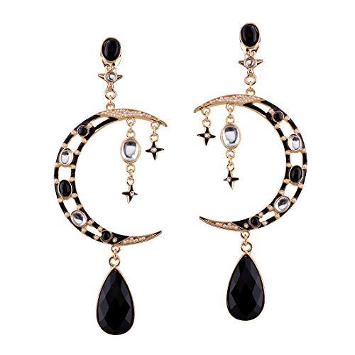 Pendientes con tachuelas de luna con diamantes El concepto de diseño de aleación hace que las mujeres sean más sexys y apasionadas. Negro