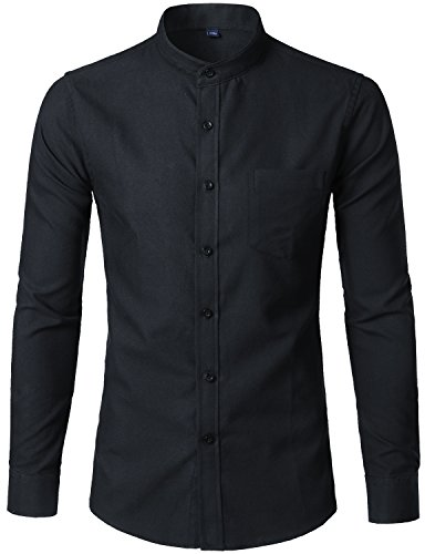 WHATLEES Mens Hipster Mandarin Collar Slim Fit Long Sleeve Casual Button Down Oxford Dress Shirt with Pocket T120 Black Small