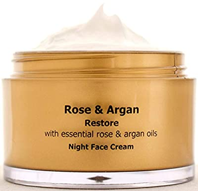 ARGAN and ROSE Night Face Cream, Soothing Moisturiser, Damaged and Mature Skin Restorer for Softer and Younger Skin Paraben Free 50 ml from Ae Aroma Essence