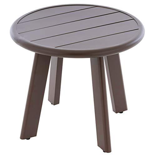 Nexos Beistelltisch Aluminium Farbe dunkel-braun Terrassentisch Balkontisch Veranda-Tisch 52x45 cm mit runder Tischplatte