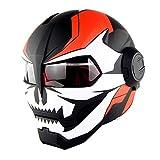 MTCTK Moto Iron Man Full Face Casque Transformers Flip up Casque D. O. T certifié Vintage Moto Casque intégré,D,L