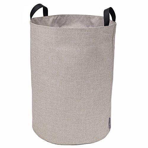 Bigso Box of Sweden Aufbewahrungskorb für Kleidung, Spielzeug usw. – freistehender Korb mit 2 Griffen – großer Wäschesammler aus Polyester und Karton in Leinenoptik – beige