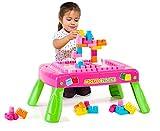 Mesa de Bloques Plegable con 20 Molto Blocks para Construir (Rosa)