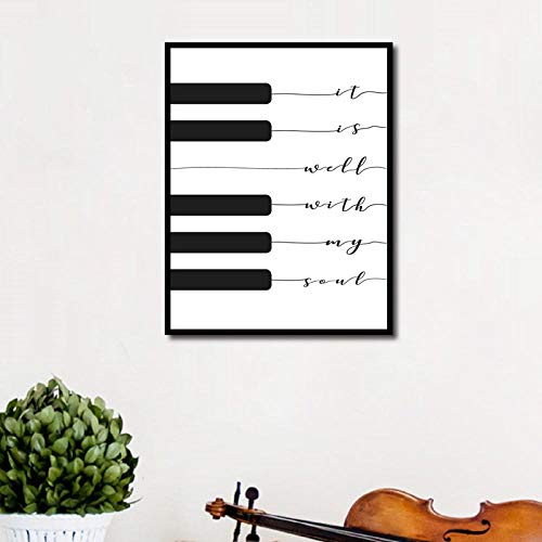 WWZJH Song Lyric Print Musik Poster Klavier Tastatur Leinwand Malerei Kinderzimmer Bild Wandkunst Home Kinderzimmer Dekor-50x70cmx1 STK. Kein Rahmen
