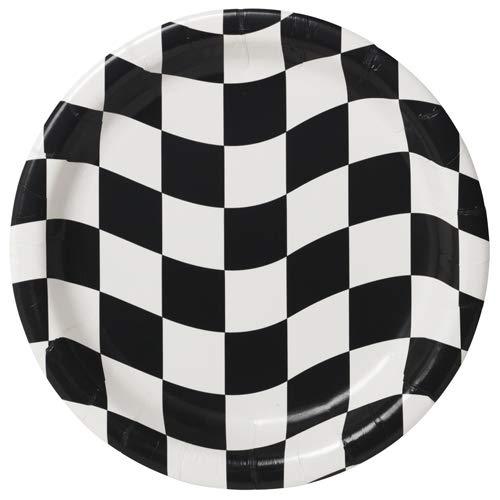 Creative Party Runder Pappteller, kariert, 22,9 cm - 8 Stück, schwarz/weiß, 22,9 cm