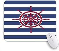 ECOMAOMI 可愛いマウスパッド 剥ぎ取られた背景の船のステアリングホイールアイコンのイラスト 滑り止めゴムバッキングマウスパッドノートブックコンピュータマウスマット