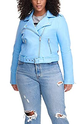 Levi's Women's Faux Leather Asymmetrical Belted Motorcycle Jacket (Regular and Plus Sizes), Placid Blue, Small