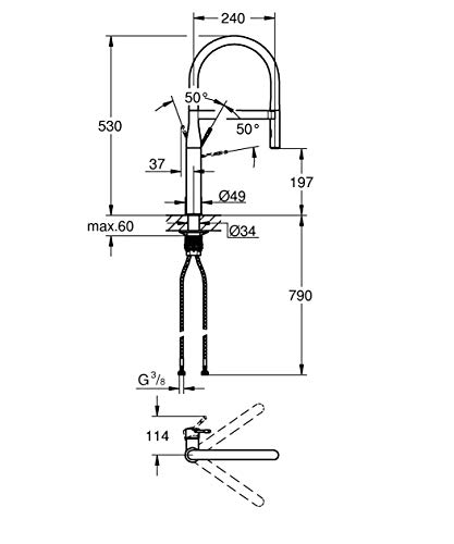 Grohe – Essence Spültischbatterie mit herausziehbarer Profibrause, Chrom - 14