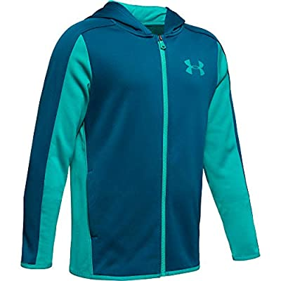 Under Armour Boys' Armour Fleece Full Zip, Teal Vibe//Teal Rush, Youth Medium