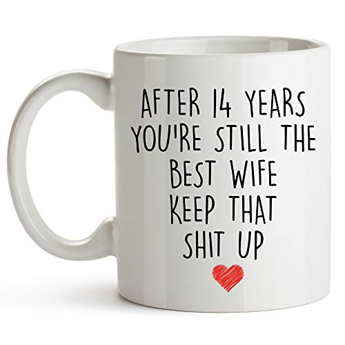 YouNique Designs 14 Year Anniversary Coffee Mug for Her, 11 Ounces, 14th Wedding Anniversary Cup For Wife, Fourteen Years, 14th Year