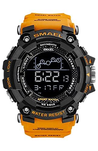 Relojes Hombre Naranja Relojes Grandes de Pulsera Digital Deportivos Cronometro LED Impermeable Reloj Goma Digitales Multifuncion Alarma Calendario Luminosa Diseño Moda Clásica