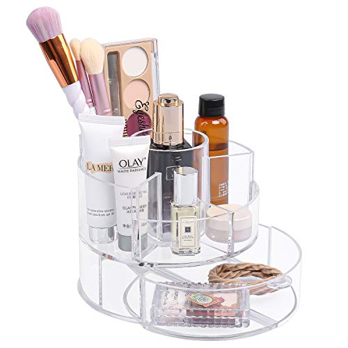 Clear Small Makeup Organizer, Cosmetic Display Cases with Drawers, Acrylic Makeup Brush Organizer and Storage for Vanity, Bathroom, Dresser, Countertop