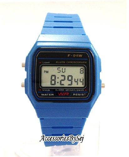 AccessoriesBySej Orologio da Polso Vintage Retro Colore Misto - quadrante 3,6 Centimetri - Disponibile in 10 Colori - Digitale - con Sacchetto Regalo TM (Azzurro)