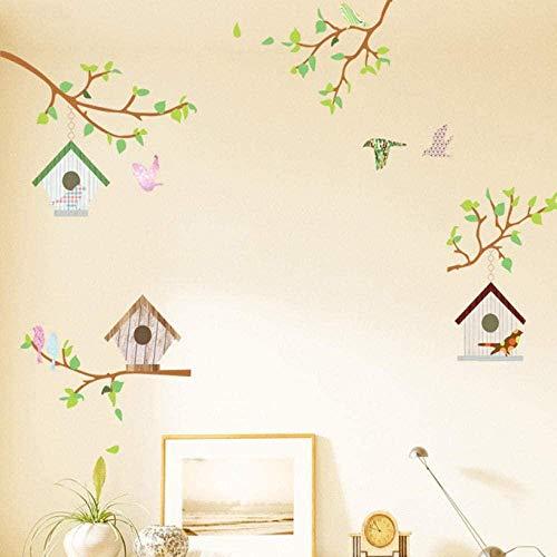 Muursticker,mode muurschilderingen cartoon dier slaapkamer decoratieve muursticker cartoon dier bos partij vogelhuisje vlinder park grootte 60 * 90cm