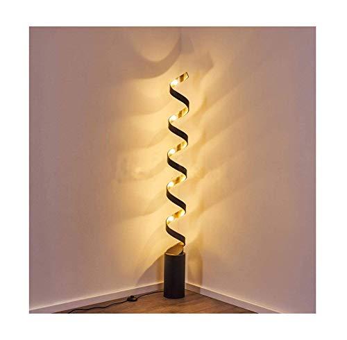 Lámpara LED de pie en metal negro y dorado, elegante luz perfecta para una sala de estar moderna o un dormitorio de diseño, con interruptor de cable, 30 W, 2400 lúmenes, 3000 Kelvin