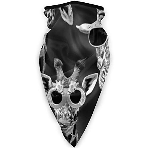Giraffe with Sun Glasses Funny Outdoor Motorcycle Face Mask - Ski Snowboard Mask Seamless Headwear Black