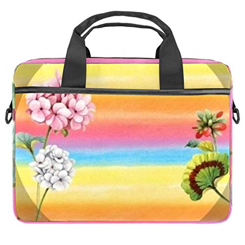 Laptop Bag Light and Shadow Flowers Notebook Sleeve with Handle 13.4-14.5 inches Carrying Shoulder Bag Briefcase
