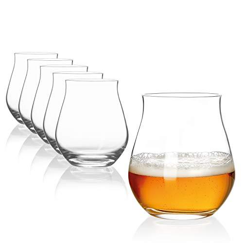 SAHM Biergläser Set 6 STK. | 140ml Bier Sensorik Becher | Spülmaschinengeeignete Bier Gläser | Ideales Gourmet Bier Geschenk für Beer Tasting