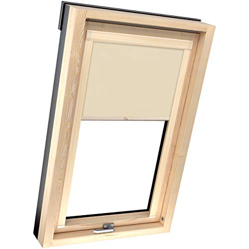 4dekor Estor opaco para ventana de tejado Velux M04/304, beige, perfiles de color pino, estor térmico para ventana de techo, estor opaco, estor 100 % protección solar, carcasa de aluminio