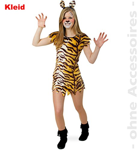 Fries Little Tisha Kleid Mädchen Kostüm Fasching Karneval Tiger Verkleiden Katze: Größe: 152