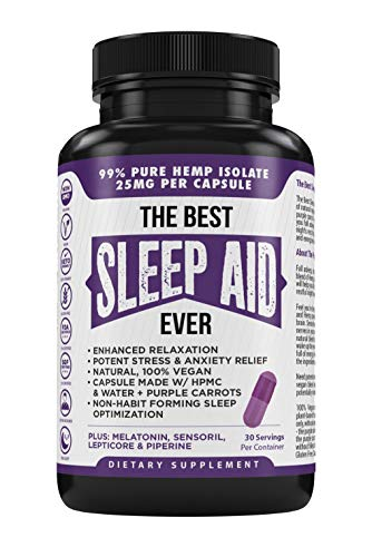 The Best Sleep Aid Ever Vegan All Natural Sleeping Pills Stress Anxiety & Insomnia Relief 750mg Pure Organic Hemp Extract Melatonin Lepticore Sensoril & More Purple Carrot Plant Based Veggie Caps (30)