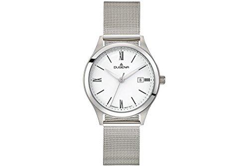 Dugena Herren Armbanduhr Senator Edelstahl 37mm silber/weiß