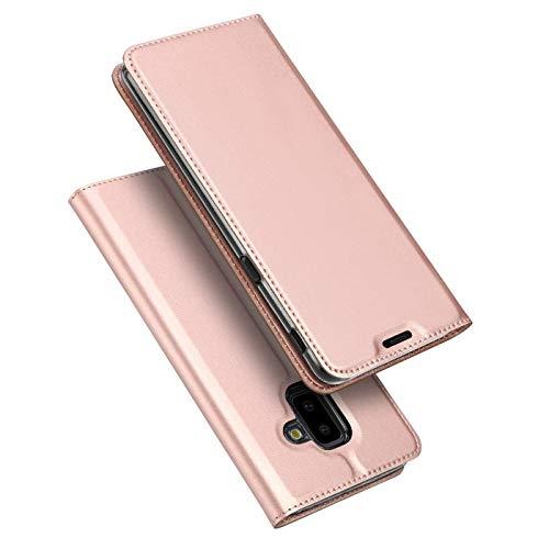 Verco Handyhülle für Galaxy J6+, Premium Handy Flip Cover für Samsung Galaxy J6 Plus Hülle [integr. Magnet] Book Hülle PU Leder Tasche, Rosegold