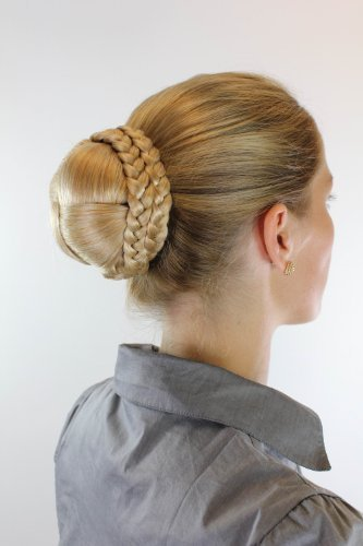 WIG ME UP ® - N796-LG26 Haarteil aufwendig geflochten Zopf Dutt Haarknoten Tracht Blond
