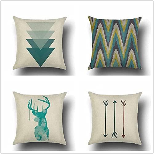 Pillowcase Juego de 4 fundas de cojín decorativas cuadradas de 45 x 45 cm, diseño geométrico de ciervos, color beige, verde, LuMingLiang (tamaño: 16 x 16 pulgadas)