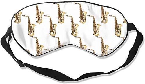 Relieve Eye Stress Natuurlijke Zijde Oog Masker, Soepele Comfortabele Verstelbare Slaap Masker Oog Cover, Mannen Vrouwen Kinderen Reizen Oogschaduw, Saxofoon Muziekinstrumenten Blindfold