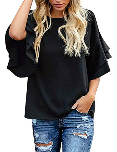 luvamia Women's Black Casual 3/4 Tiered Bell Sleeve Crewneck Loose Tops Blouses Shirt Size M